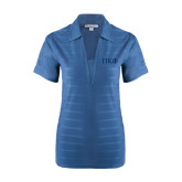 Ladies Indigo Blue Horizontal Textured Polo-Greek Letters Tone