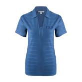 Ladies Indigo Blue Horizontal Textured Polo-Greek Letters Tone