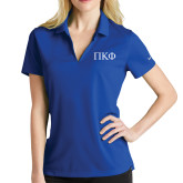 Ladies Nike Golf Dri Fit Royal Micro Pique Polo-Greek Letters