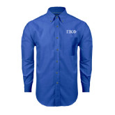 Mens Royal Oxford Long Sleeve Shirt-Greek Letters