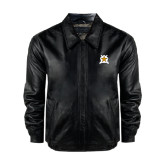 Black Leather Bomber Jacket-Star