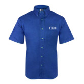 Royal Twill Button Down Short Sleeve-Greek Letters