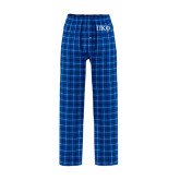 Royal/White Flannel Pajama Pant-Greek Letters