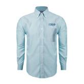 Mens Light Blue Oxford Long Sleeve Shirt-Greek Letters