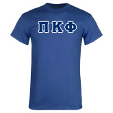 Royal Blue T Shirt-Greek Letters Tackle Twill