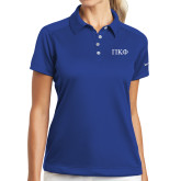Ladies Nike Dri Fit Royal Pebble Texture Sport Shirt-Greek Letters