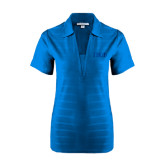 Ladies Sapphire Horizontal Textured Polo-Greek Letters Tone