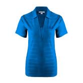 Ladies Sapphire Blue Horizontal Textured Polo-Greek Letters Tone