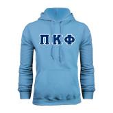 Light Blue Fleece Hoodie-Greek Letters Tackle Twill