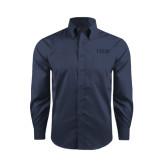 Red House Deep Blue Herringbone Long Sleeve Shirt-Greek Letters Tone