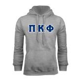 Grey Fleece Hoodie-Greek Letters Tackle Twill
