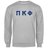 Grey Fleece Crew-Greek Letters Tackle Twill