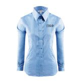 Ladies Red House Light Blue Long Sleeve Shirt-Greek Letters - 2 Color