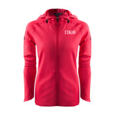 Ladies Tech Fleece Full Zip Hot Pink Hooded Jacket-Greek Letters