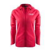 Ladies Tech Fleece Full Zip Hot Pink Hooded Jacket-Greek Letters