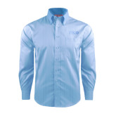 Red House Light Blue Dobby Long Sleeve Shirt-Greek Letters Tone