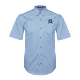 Light Blue Twill Button Down Short Sleeve-Star