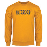 Gold Fleece Crew-Greek Letters Tackle Twill
