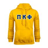 Gold Fleece Hoodie-Greek Letters Tackle Twill