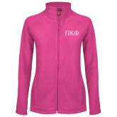 Ladies Fleece Full Zip Raspberry Jacket-Greek Letters