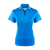 Ladies Light Blue Performance Fine Jacquard Polo-Greek Letters Tone