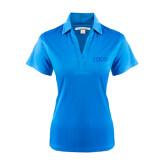 Ladies Light Blue Performance Fine Jacquard Polo-Greek Letters Tone