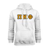 White Fleece Hoodie-Greek Letters Tackle Twill