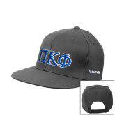 Charcoal Flat Bill Snapback Hat-Greek Letters - 2 Color