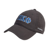 Charcoal Twill Unstructured Low Profile Hat-Greek Letters - 2 Color