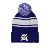 Royal/White Two Tone Knit Pom Beanie with Cuff-Star