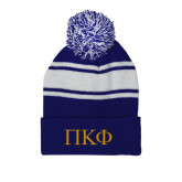 Royal/White Two Tone Knit Pom Beanie with Cuff-Greek Letters