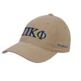 Khaki OttoFlex Unstructured Low Profile Hat-Greek Letters - 2 Color