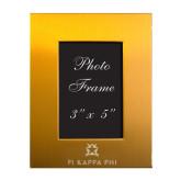 Gold Brushed Aluminum 3 x 5 Photo Frame-Pi Kappa Phi Stacked Engraved