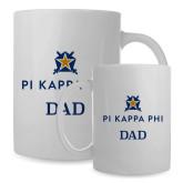 Dad Full Color White Mug 15oz-Dad - Pi Kappa Phi Stacked