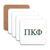 Hardboard Coaster w/Cork Backing 4/set-Greek Letters - 2 Color