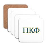 Hardboard Coaster w/Cork Backing 4/set-Greek Letters - 2 Color