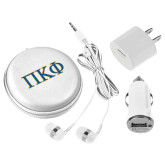 3 in 1 White Audio Travel Kit-Greek Letters - 2 Color