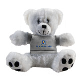 Plush Big Paw 8 1/2 inch White Bear w/Grey Shirt-Pi Kappa Phi Stacked