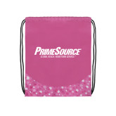 Nylon Pink Bubble Patterned Drawstring Backpack-PrimeSource