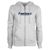 ENZA Ladies White Fleece Full Zip Hoodie-PrimeSource