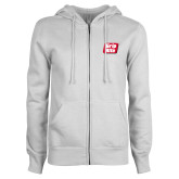 ENZA Ladies White Fleece Full Zip Hoodie-Grip-Rite