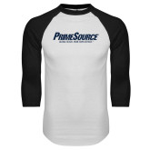 White/Black Raglan Baseball T Shirt-PrimeSource