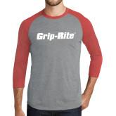 Grey/Red Heather Tri Blend Baseball Raglan-Grip-Rite