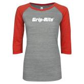 ENZA Ladies Athletic Heather/Red Vintage Baseball Tee-Grip-Rite
