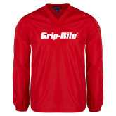 V Neck Red Raglan Windshirt-Grip-Rite