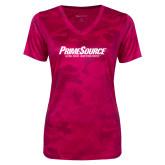 Ladies Pink Raspberry Camohex Performance Tee-PrimeSource
