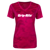 Ladies Pink Raspberry Camohex Performance Tee-Grip-Rite