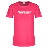 Ladies Performance Hot Pink Tee-PrimeSource