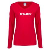 Ladies Red Long Sleeve V Neck Tee-Grip-Rite