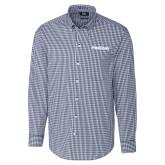 Cutter & Buck Navy Stretch Gingham Long Sleeve Shirt-PrimeSource